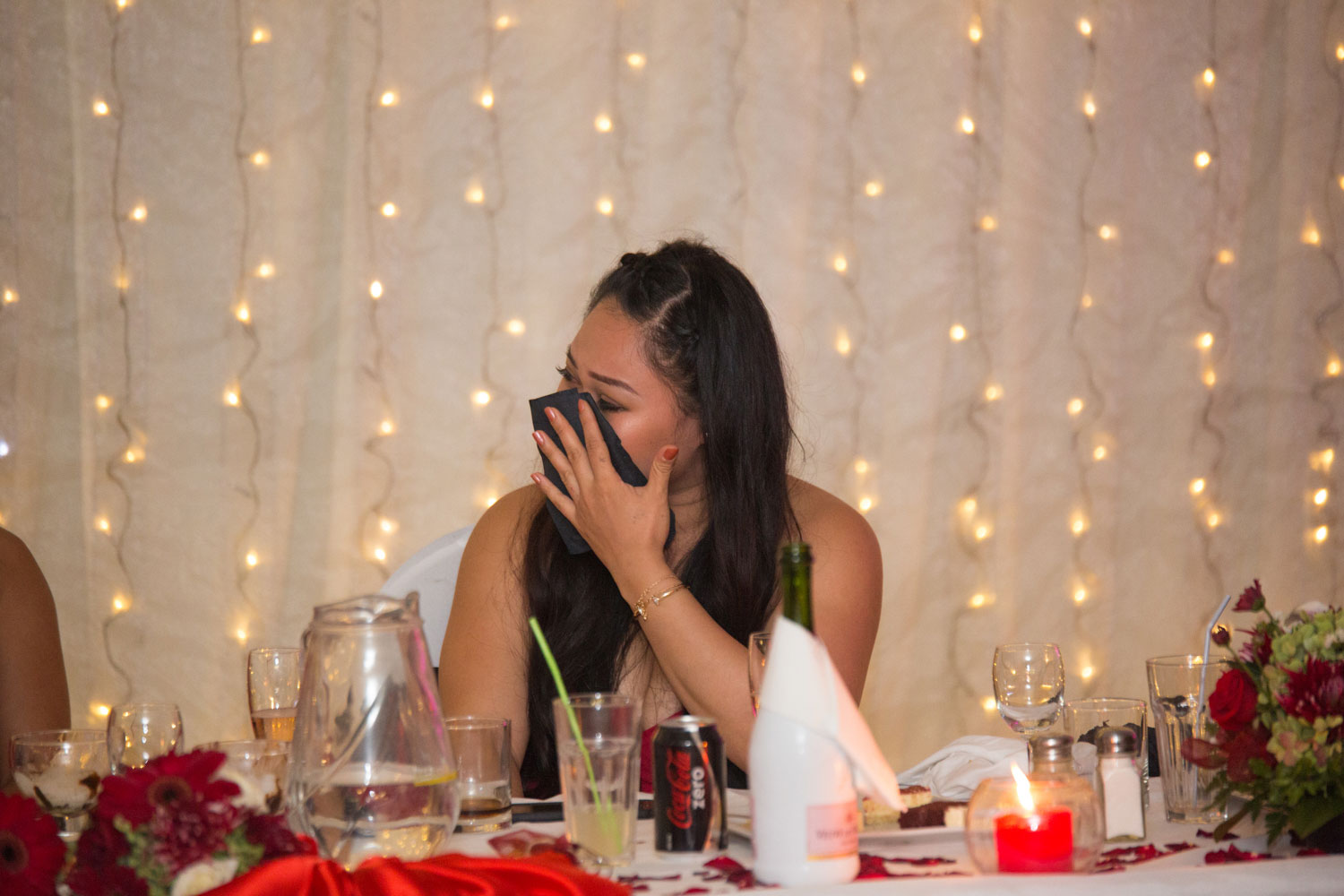 auckland wedding reception bridesmaid crying