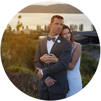 lake taupo sunset wedding photo