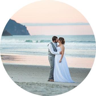 waihi beach sunset wedding photo