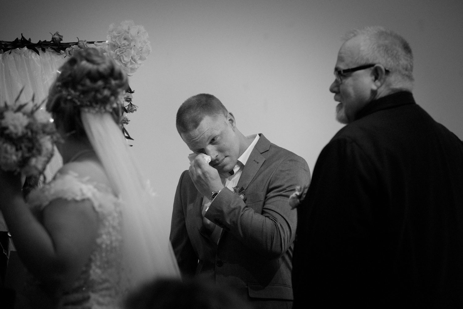 hamilton wedding groom tearing up ceremony
