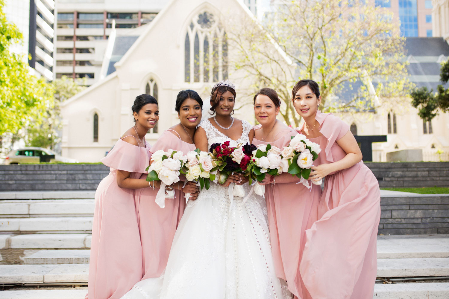 auckland wedding bride and bridesmaids