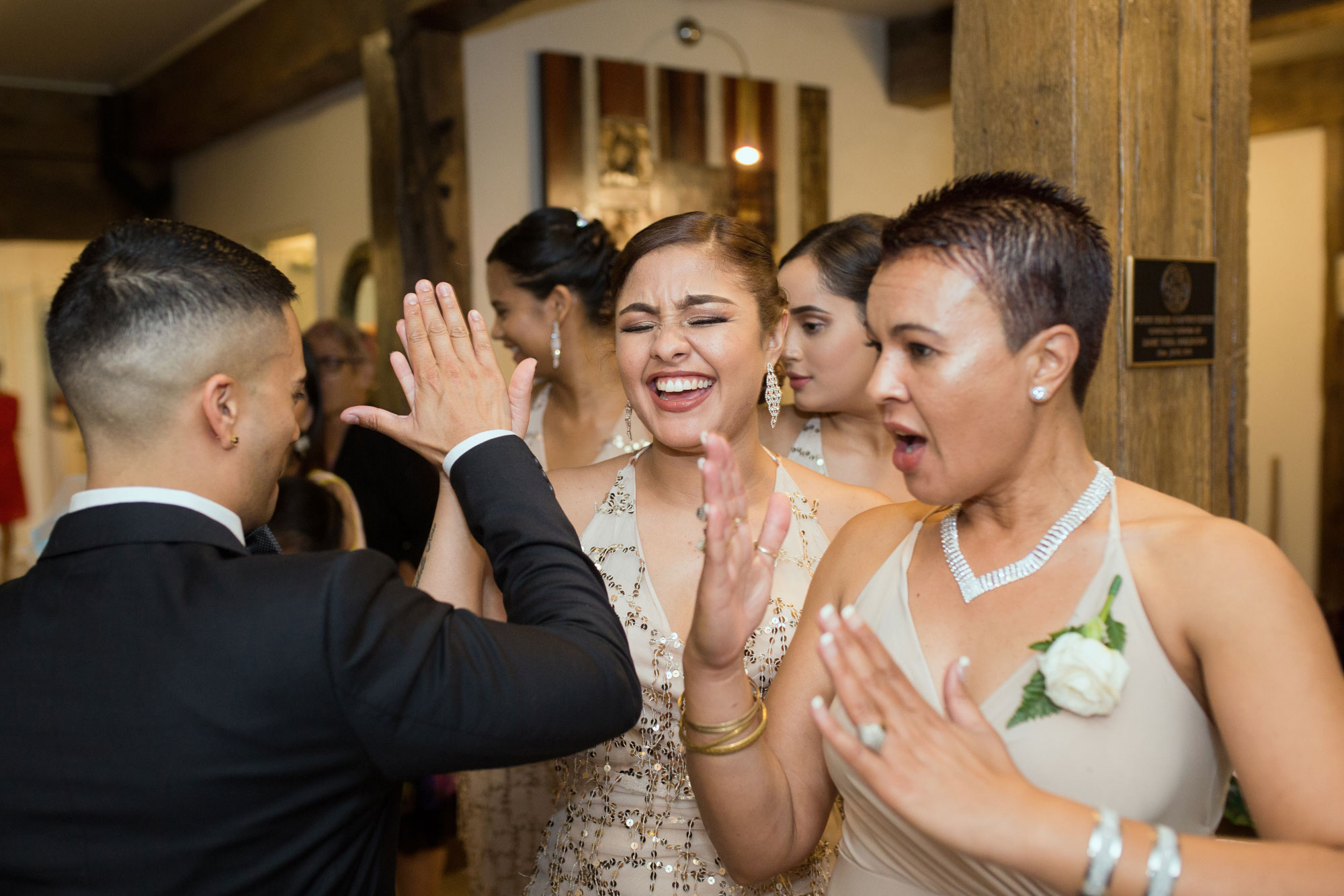bridesmaid high five