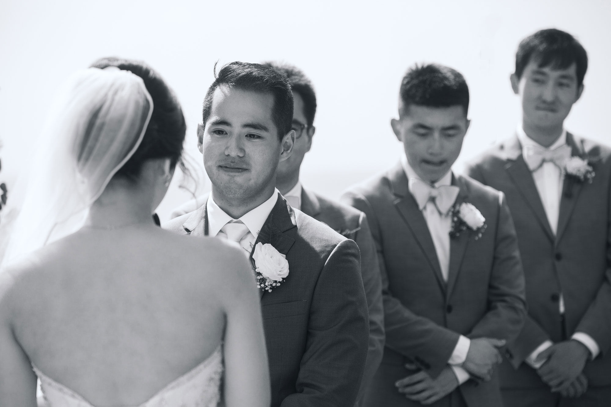 groom looking during ceremony