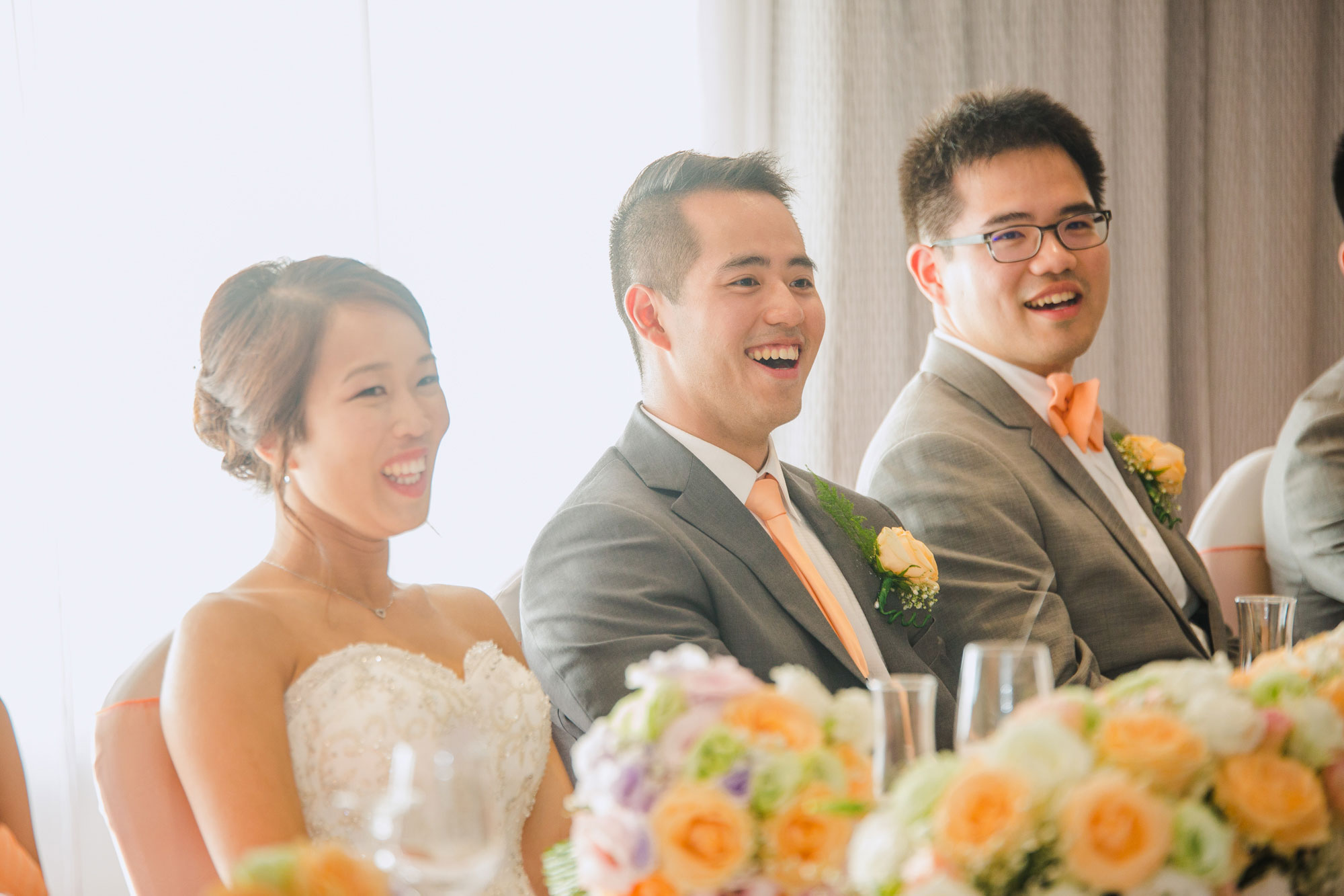 groom laughing at speech