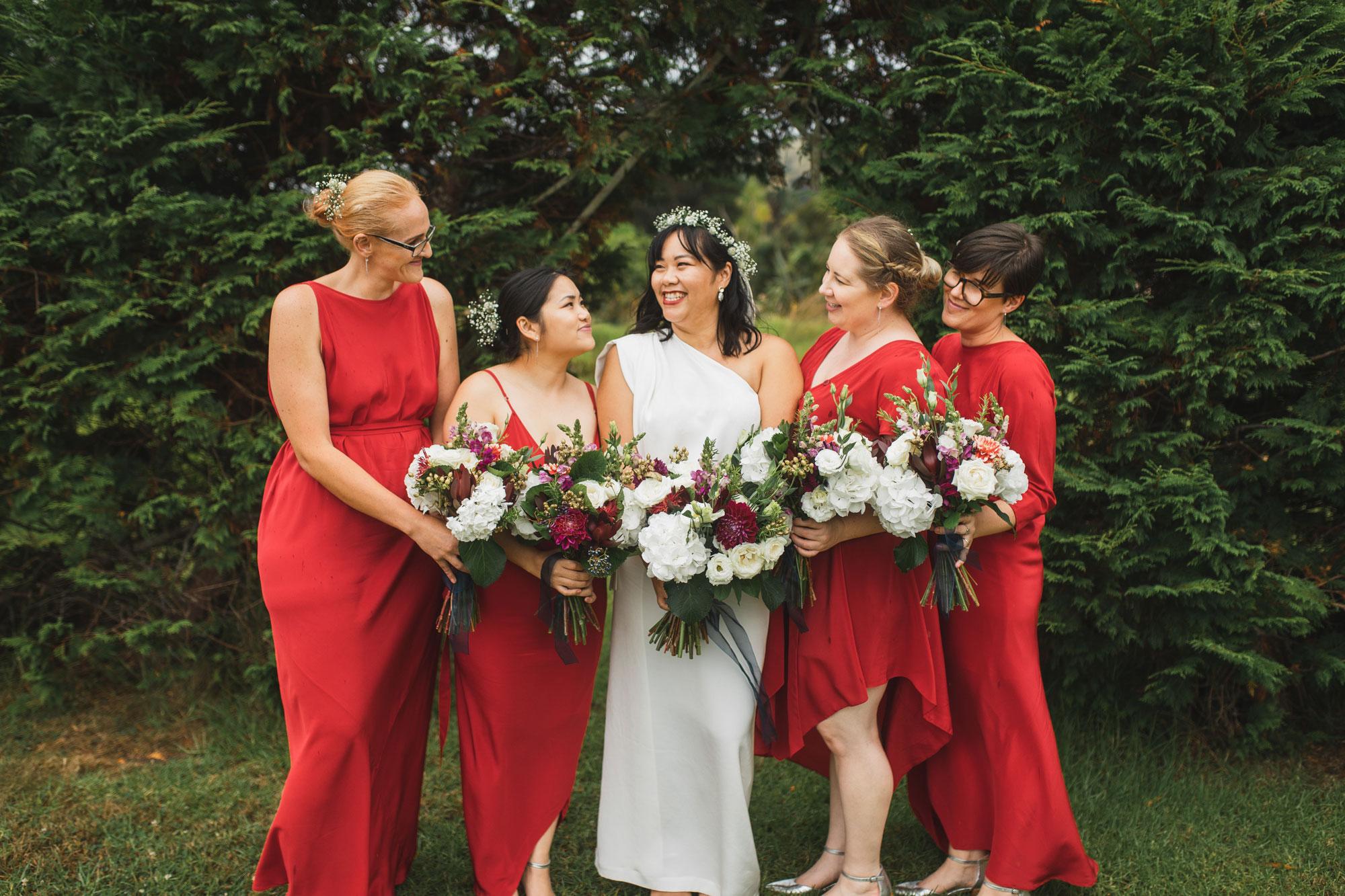 auckland wedding bridal party photo