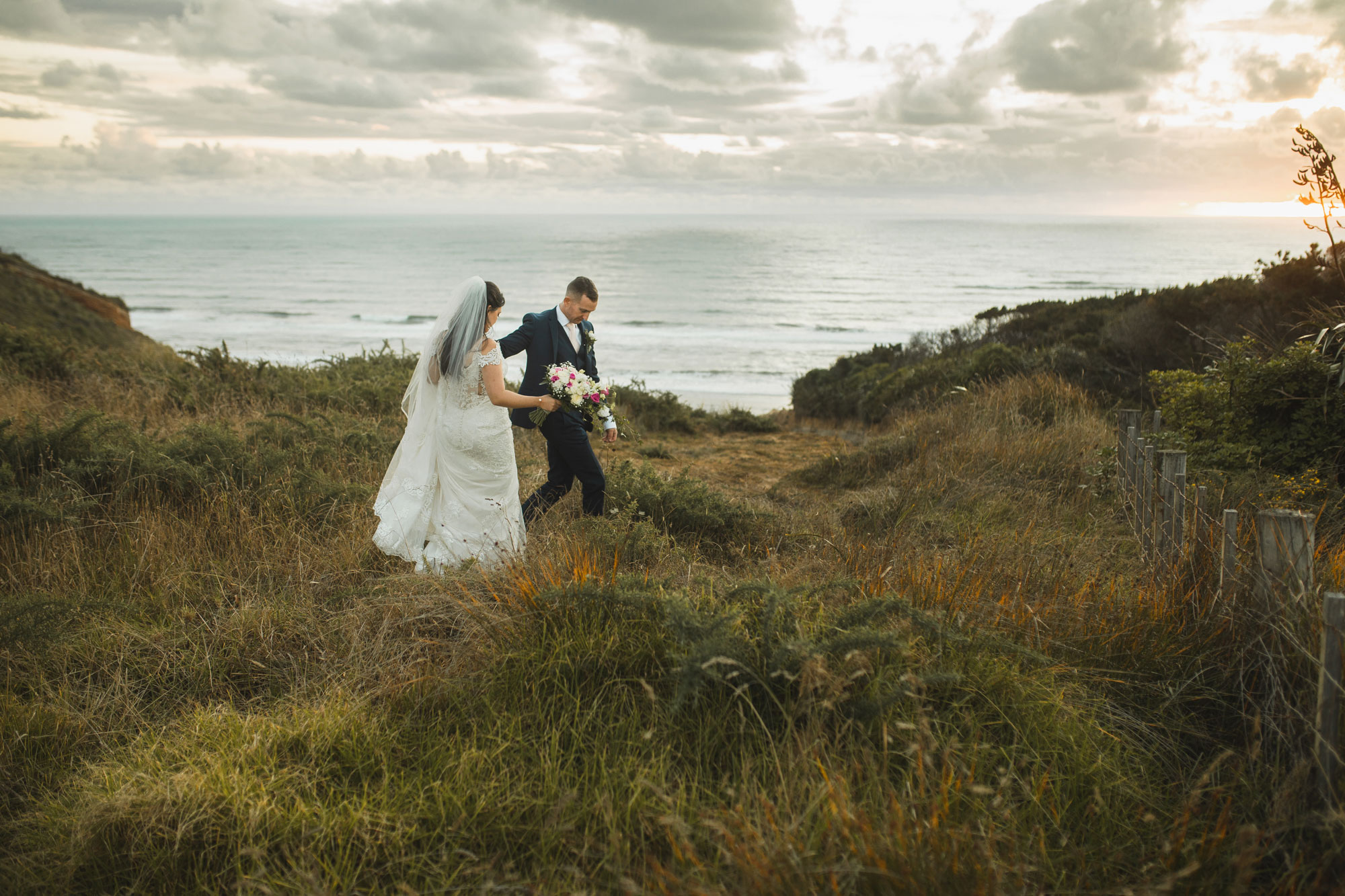 castaways waiuku wedding bride and groom moment
