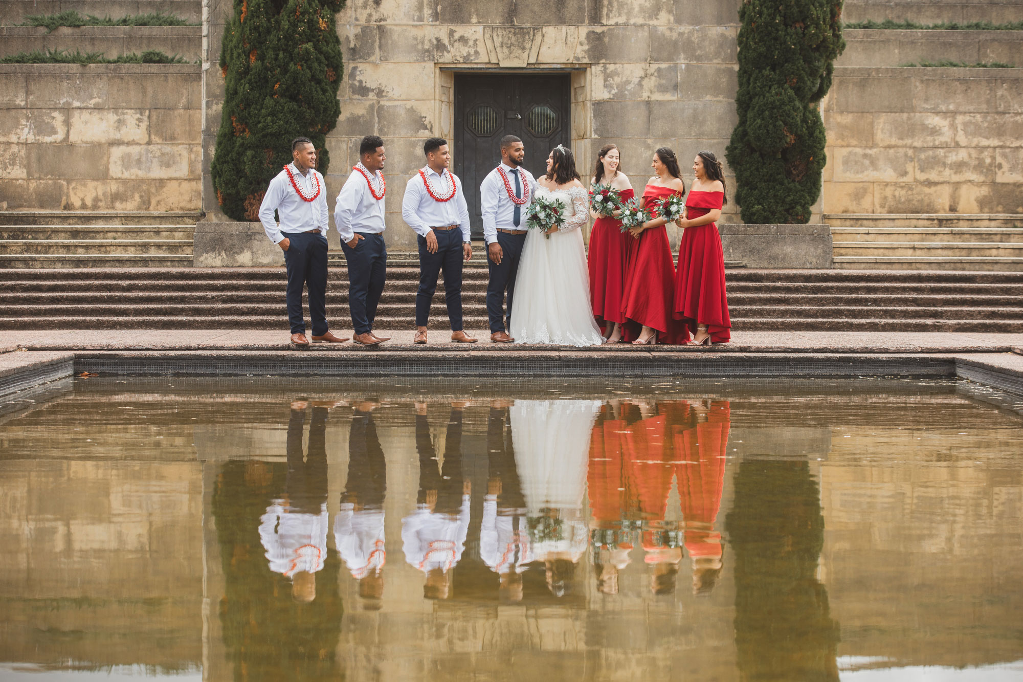 bridal party reflection at bastion point in auckland