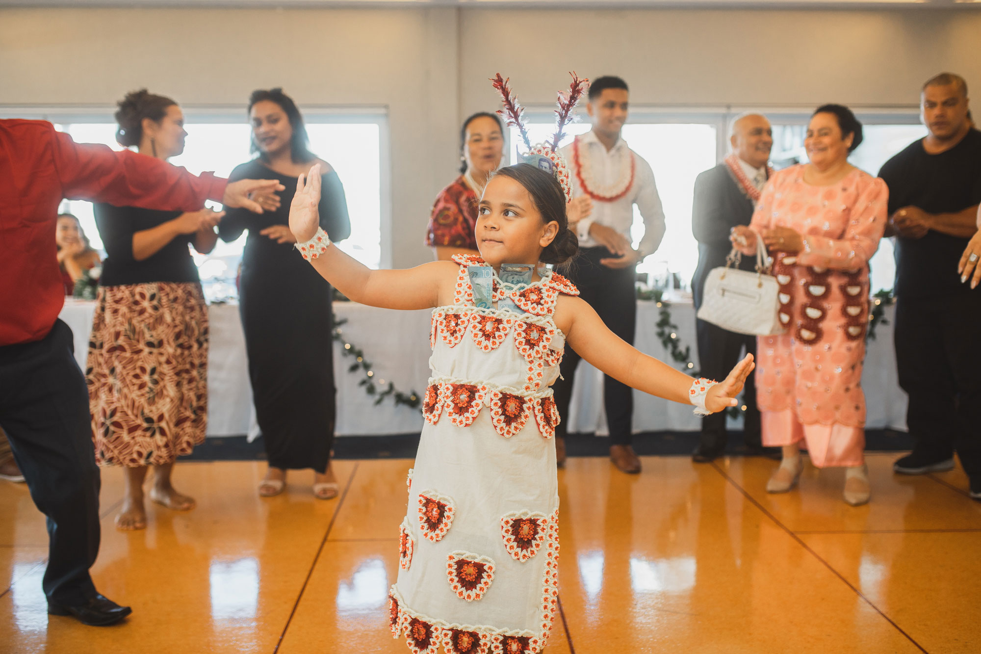 little girl dancing at auckland wedding