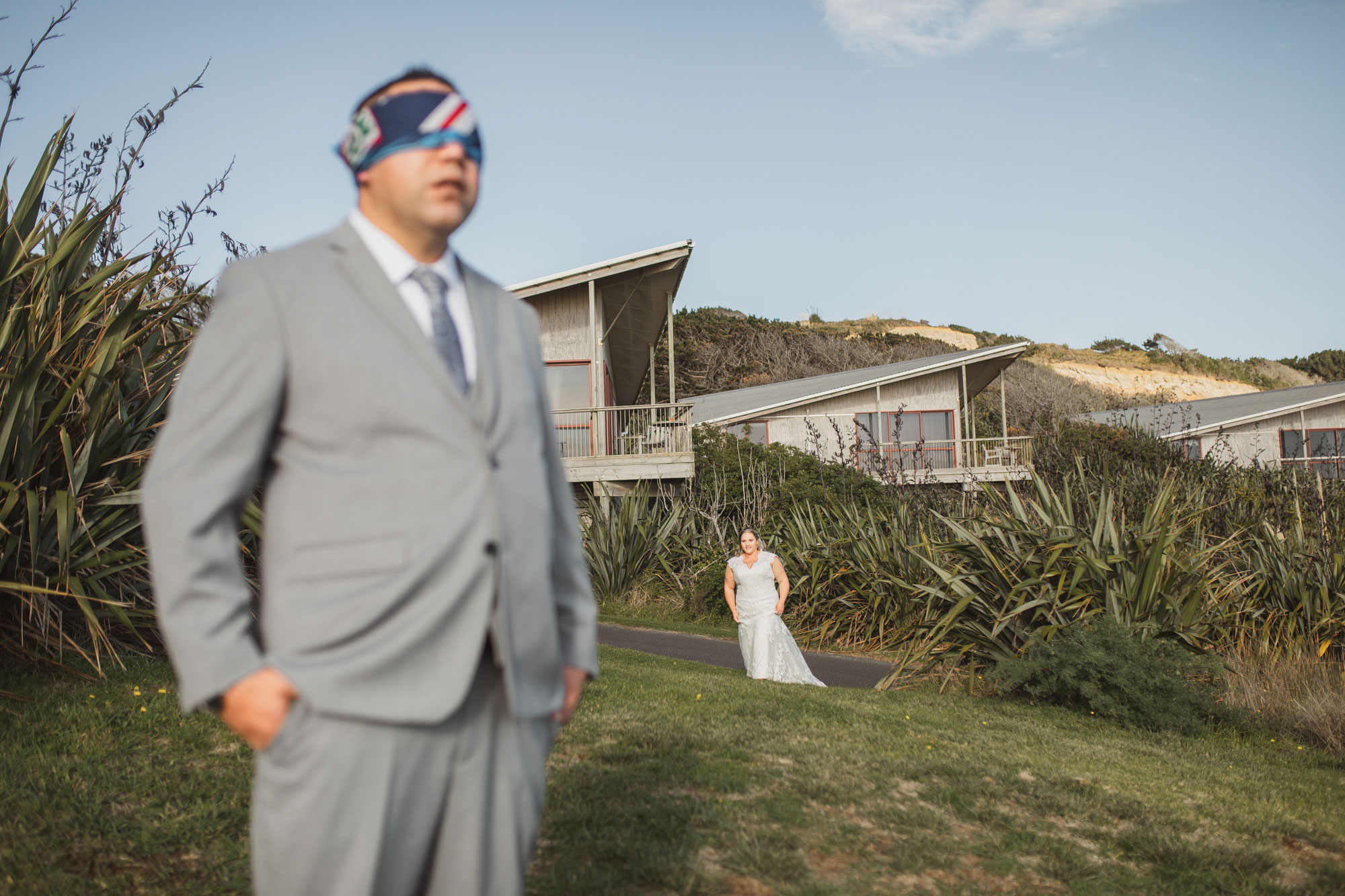 couple first look at castaways wedding