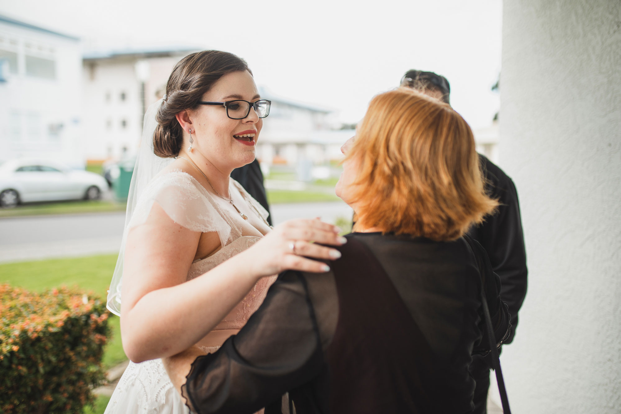 bride talking to a guest